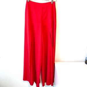 MIEEION | palazzo red pants with front openings